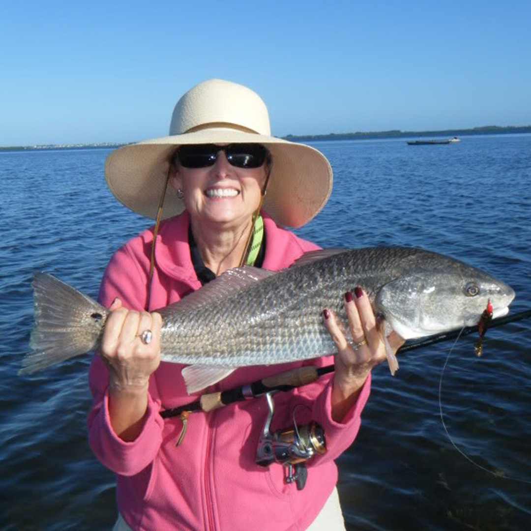 Debra was shown a great day of inshore kayak fishing, and landed this Redfish, among others.